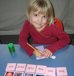 Student with language work
